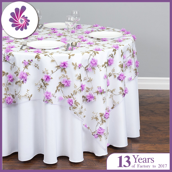 Square Sheer With Lavender Roses Overlay