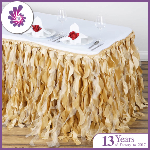 Taffeta Curly Willow Table Skirt