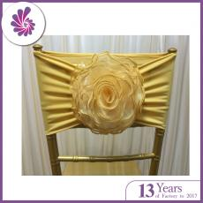 Wedding Spandex Chair Sash with Organza Rose