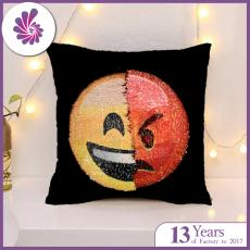 Emoji Throw Pillow Case with Dual Design Magic Reversible Sequin