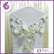 Sheer Rose Embroidered Chair Sashes