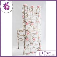 Organza Embroidery 3D Flowers Chair Slip Cover