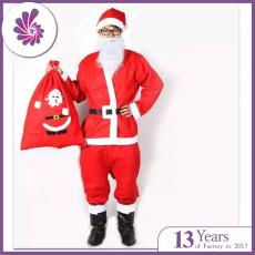 Mens Santa Claus Costume Velvet Deluxe Santa Suit Christmas Costume Sets