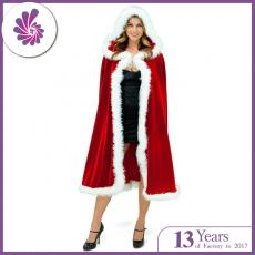 Christmas Costume Mrs. Santa Claus Cardigan Velvet Hooded Cape Cloak