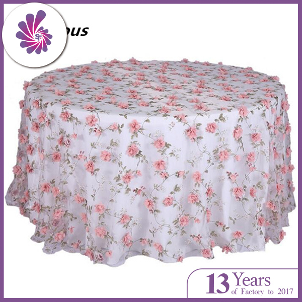 Embroidery Organza Floral Printing Table Cloth