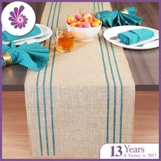 Rustic Farmhouse Stripe Burlap Jute Table Runners