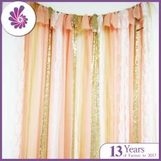 Sequin Lace Chiffon Ribbon Wedding Backdrop